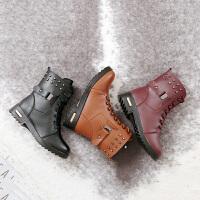 乌龟先森 马丁靴 女冬季新款加绒加厚保暖女靴中筒短靴时尚休闲铆钉纯色系带拉链女士棉靴冬