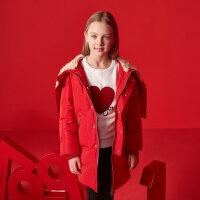 【1件3折到手价:140.97】米喜迪mecity童装男女童红色冬装中性设计感帽子中长款羽绒服