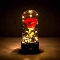 520情人节进口永生花礼盒玫瑰保鲜花玻璃罩音乐盒生日礼物音响