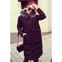 加肥加大码女装胖mm冬装中长款羽绒 胖妹妹加厚棉衣外套200斤 黑色