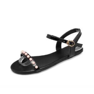 ELEISE美国艾蕾莎新品162-111韩版超纤皮平跟舒适女士凉鞋