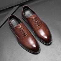 秋季男士韩版鞋子商务正装尖头男鞋青年透气英伦增高休闲鞋皮鞋男