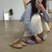 韩国时尚平底鞋女拖鞋外穿ins百搭舒适凉拖圆头皮带扣包头半拖鞋