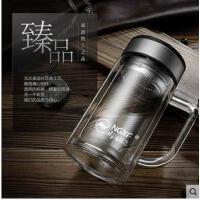 水瓶杯玻璃茶杯子玻璃杯双层大容量带把手办公水杯便携带带盖有滤网