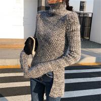 时尚毛衣女2018新款女装春装高领拼色修身开叉不规则针织衫打底衫