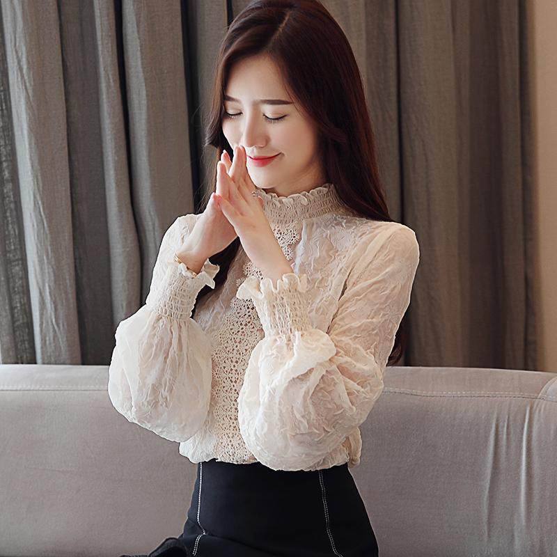 雪纺衫秋装女装2018新款潮网纱长袖上衣服女士秋季短款蕾丝打底衫
