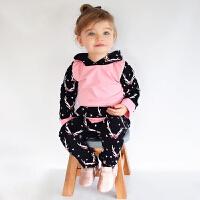 INS秋装0-1-2岁女宝宝衣服婴儿童卫衣女童套装薄款长袖卫衣2件套