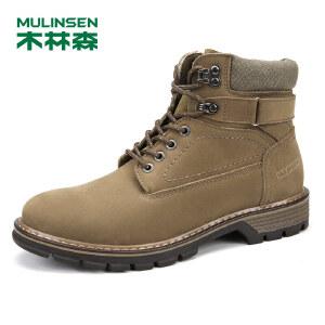 木林森99男士工装鞋真皮磨砂皮高帮男鞋系带休闲鞋