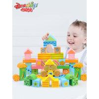 儿童1-2-3-6周岁男孩女孩宝宝益智木头创意花纹玩具桶装早教积木