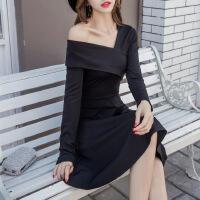 欧洲站女装2018春季新款V领修身露肩中长款连衣裙气质显瘦潮流 长袖款