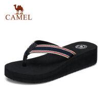 camel 骆驼坡跟夹趾凉鞋新款凉拖女夏外穿时尚中跟平底拖鞋韩版百搭