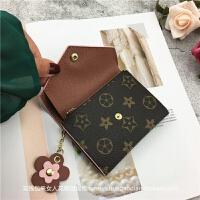 定制新款钱包女短款薄折叠搭扣迷你拉链小花零钱包复古欧美软皮夹