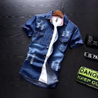 夏季牛仔衬衫男短袖潮韩版潮流个性帅气百搭破洞衬衣半袖寸衫上衣