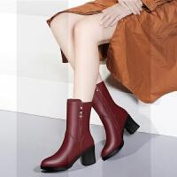 靴子女 中筒靴2018新款粗跟短靴韩版百搭高跟加绒马丁靴女皮靴冬SN63 6152 酒红色(薄绒)