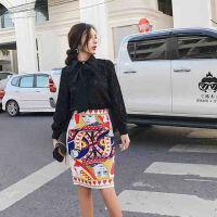 春季新款时尚女翻领单排扣长袖衬衫高腰印花半身裙两件套装潮