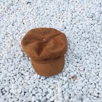 韩国贝雷帽女麂皮绒八角帽子男英伦画家帽南瓜帽秋冬鸭舌帽yly M(56-58cm)