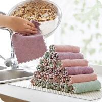 斜月三星【5-10条装】厨房抹布洗碗布 不沾油易清洗 双面双色 加厚吸水