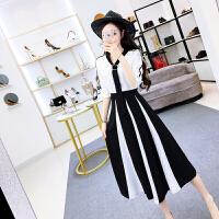套装女夏时尚气质新款小香风撞色飘带上衣+黑白撞色修身高腰伞裙 图片色