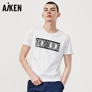 森马旗下Aiken短袖T恤男士夏装新款圆领体恤男生字母印花竖条上衣青年
