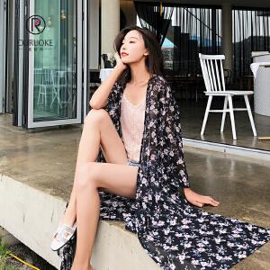 欧若珂  2018夏披肩波西米亚印花雪纺空调衫女中长款开衫防晒衣带腰带
