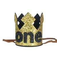 宝宝ONE一周岁生日帽儿童生日派对皇冠帽子装饰创意拍照闪亮王冠