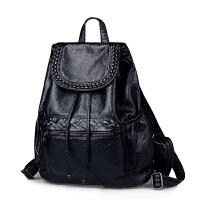 2018新款时尚软皮黑色女士双肩包女潮流休闲韩版学院女生两用背包SN1531 黑色