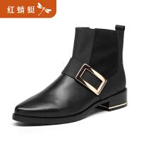 【红蜻蜓领�涣⒓�150】金粉世家 红蜻蜓旗下 秋冬新款短靴真皮切尔西靴短筒女靴
