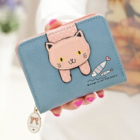 钱包女短款新款韩版可爱拉链卡通萌猫学生印花女士钱包