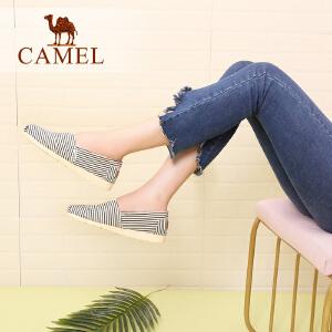 骆驼牌女鞋 平底孕妇鞋子一脚蹬休闲懒人帆布鞋老北京布鞋女