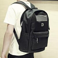 双肩包男韩版青少年书包校园初高中学生帆布包男生青年休闲电脑包 B35黑色
