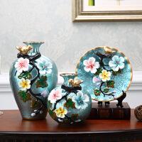 陶瓷花瓶摆件客厅插花欧式奢华创意摆设三件套家居装饰品美式花器 青色 青色寄花三件套