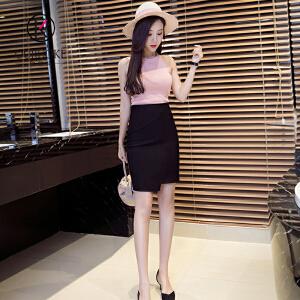 欧若珂  2018夏高腰包臀半身裙女短裙修身弹力开叉一步裙不规则包臀裙女