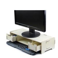 木质液晶电脑显示器架键盘增高带抽屉置物多层格子收纳支托架包邮