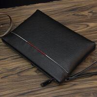手包男潮大容量夹包商务手抓包软皮休闲韩版信封包钱包男士手拿包 黑色
