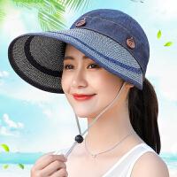 帽子女夏季防晒百搭出游太阳帽防紫外线沙滩草帽大沿骑车遮阳帽