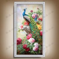 新中式油画手绘美式孔雀欧式牡丹玄关客厅走廊装饰画有框画圆挂画 100*200手绘外框尺寸 单幅