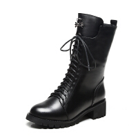 马丁靴女英伦风真皮中筒靴平底粗跟加绒2018秋冬韩版学生短靴