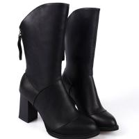 尖头短靴2018新款百搭冬秋女鞋子韩版半靴粗跟秋季中筒高跟单靴子 黑色