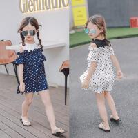 女童连衣裙夏季韩版童装波点雪纺荷叶边中小童吊带裙子B-A27