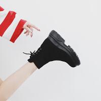 内增高2018秋季新款ins马丁靴女厚底英伦松糕短靴百搭网红女鞋冬 黑色单里 猪皮鞋垫