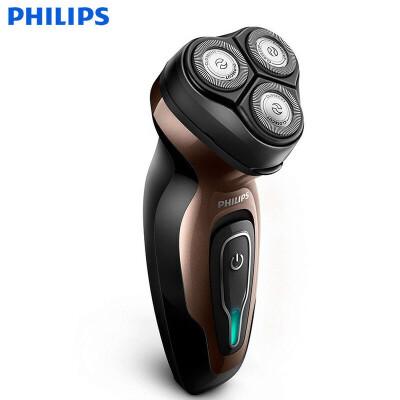飞利浦(PHILIPS)电动剃须刀 旋转式三刀头胡须刀 刮胡刀 YQ6188 高效续航电池 流线型设计 带有清洁切剃系统