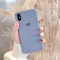 紫色爱心苹果X手机壳液态硅胶iphone xs max xr女款6 7 8plus可爱 iPhone Xs Max