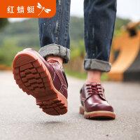 【领�涣⒓�150】红蜻蜓男鞋冬季新品真皮高帮鞋韩版短靴工装鞋沙漠靴休闲
