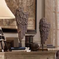 装饰品摆件创意客厅酒柜摆设家居饰品树脂工艺品美式复古北欧树脂天使翅膀摆件