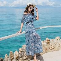 2018一字领露肩印花雪纺连衣裙 短袖波西米亚沙滩度假长裙 天蓝色