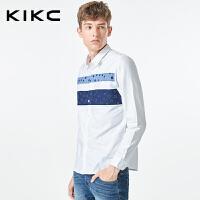 kikc长袖衬衫男2018秋季新款青少年韩版印花拼接衬衣潮流上衣男
