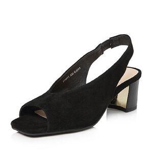 Tata/他她2018春专柜同款羊皮绒面通勤粗高跟女皮凉鞋20801AL8
