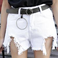 规则牛仔短裤女夏季2018新款韩版高腰显瘦阔腿裤学生热裤潮