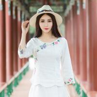 新款女装民族风绣花衬衣 中袖斜襟领花瓣下摆麻小衫衬衫A6269