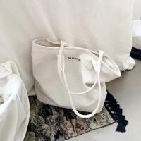 韩国白色帆布包女单肩包女大包简约百搭文艺小清新手提包大容量